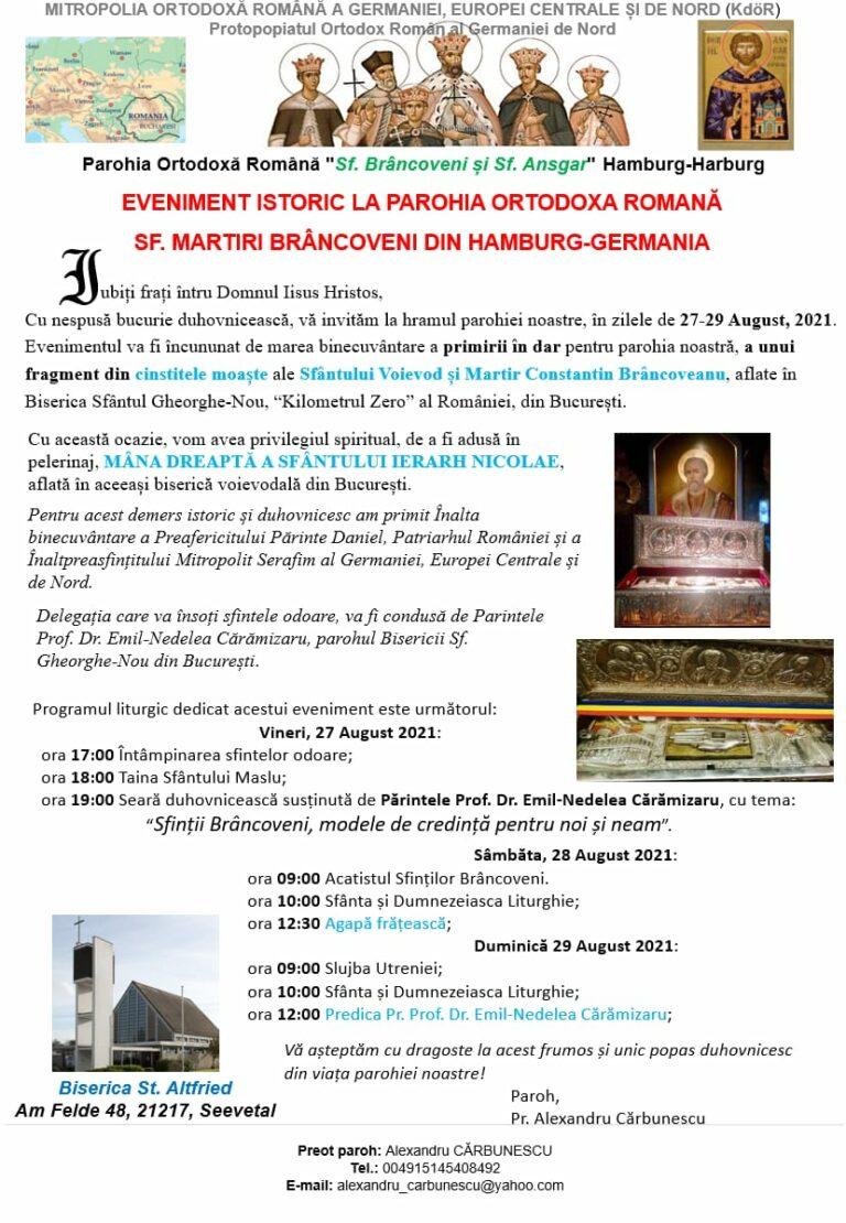 Primirea cinstitelor moaste ale Sf. Voievod si Martir Constantin Brancoveanu